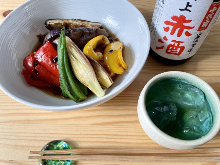 赤酒レシピ夏野菜煮びたし